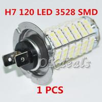 1 PCS Car Auto 120 LED 3528 SMD 12V H7 Base Xenon White Fog Driving Head Light Lamp Bulb