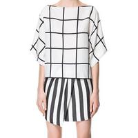 2014 New Fashion Women Chiffon Blouses Plus Size Plaid Vintage Blouses Blusas Women Clothing