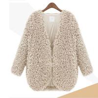 2014 Autumn New Fashion Women Faur Fur V-Neck Open Stitch Natural Color Jacket Coat Outerwear, Black, Gray, White, S, M, L, XL