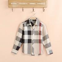 New 2015 Boys Shirts Fashion Brand Clothes Autumn Plaid Boys Children Kids Polo England Style Shirt Boys Long Sleeve Shirt 872