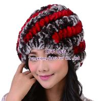 BG30454  Genuine Knitted Rex Rabbit Fur Beanie Wholesale Retail Women Fur Hat Winter Kintted Fur Cap