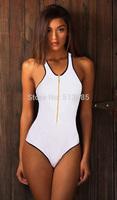 2015 New  front-close zip one piece swimwear for women, sporty Push Up Swimwear Swimsuit, Halter Bathing Suit Biquini Biquinis