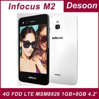 Original Foxconn Infocus M2 4G FDD LTE MSM8926 Quad Core Android 4.4 4.2 Inch IPS 1280X768 1GB/8GB 8MP+8MP 4G Mobile Phone WIFI