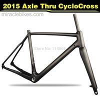 MIRACLE BIKES 2015 Thru Axle Carbon Cyclocross Frame, 142*12 Thru Axle CX Bike Frame Fork  UD Matte