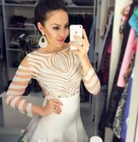 Brazilian Style fashion sexy irregular stripe transparent women blouses ladies Body Blusas Femininas 2014