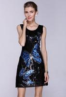 factory wholesale High quality Sequins butterfly women dress, vestido de festa Paillette Club dress evening party dropship