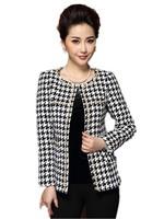 Free Shipping orean Autumn Winter Elegant Fashion Woman Small Fragrant Style Houndstooth Woolen Small Suit M,L,XXL,XXXL