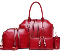 Fashion New Arrival Wax oiled Genuine leather Bag Women Handbag Shoulder Crossbody Bag Handbag+Messenger Bag+Purse+Wallet 4 sets