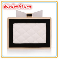New Women's Handbag Acrylic Bow Clutch Purse Quilted Grade PU Leather Evening Bag Chain Shoulder Messenger Bag Multicolor