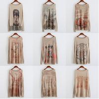 2015 New Fashion Women brand 3d sweater Animal Eiffel Tower printing Knitting sweater Long sleeve O-Neck women pullover 21model