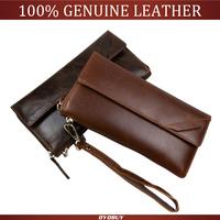Top genuine leather men's clutch wallets purse business handbag oil wax leather cowhide long wallets man clutch bags