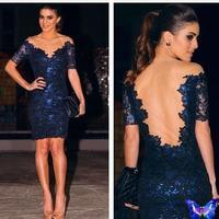 2014 Runway Dress Women Clothes Vestido De Festa Curto Blue Lace Bodycon Dresses Plus Size Hot Sale