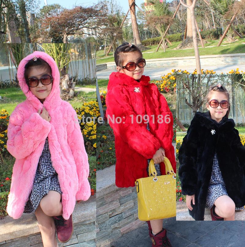 Children real fur outerwear long hooded girls rex rabbit hair coat solid soft big girls high quality genuine rabbit fur coat OEM(China (Mainland))