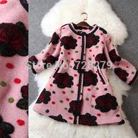 Winter Coat  Women's Clothing 2014 Flower Fleece Three quarter Sleeve Medium-long Ladies' Coat  Winter Outerwear