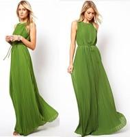 2014 New Fashion Long Pleated Maxi Dress Dark Green Floor-length On Sale Hot Summer Elegant One-piece Women Dress S-XL