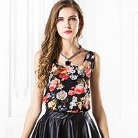 Hot Selling European Style Sleeveless Printing Flower Pattern All Match Loose Edition Women Chiffon Bottoming Shirts Blouses