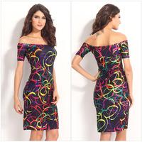 vestido estampado 2014 Women Colorful Short Sleeve Bodycon Midi Bandage Print Sexy Midi Slash Neck Casual Summer Dress Vestidos