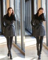 New Fashion 2015 Winter Women Jacket  High Quality Slim PU Sleeve Cashmere Wool Overcoats Brand Desigual Casacos Femininos
