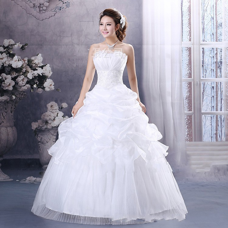 Wedding Dresses Under $100 In  : New arrival floor length strapless ball gown white cheap