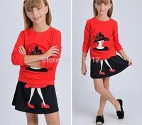 2014 new Korean children's clothing Girl's fashionable long-sleeved sweater + skirt ,for Autumn / Spring wear