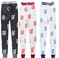 (Alice)free shipping 2014 New style fashion New 100 emoji runners pants white / black men / women pants ,3 color