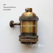Trasporto libero all'ingrosso della fabbrica loft vintage retro placcato edison zoccolo del supporto e27/ul/110 v/220 v alluminio base della lampada lb-  (China (Mainland))
