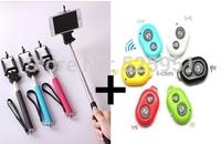 Self Selfie Stick rod  Extendable Handheld Monopod +Bluetooth wireless Camera Shutter Remote Controller self-timer +Clip Holder
