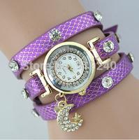 Free shipping 2015 fashion casual 2pcs creative bracelet watch diamond Wristwatches 7 colors--gfg