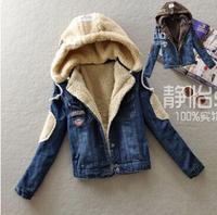 Korean version of the thick lamb's wool fleece warm detachable cap denim jacket, new winter coat breasted female casual