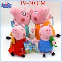 Peppa Pig Family Plush Cartoon Kids Toys 4PCS/SET Peppa Pig 19-30cm Pepa/Pepe/Pink/Pepper Pig Soft Stuffed Children Animal Doll