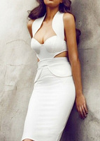 Dropshipping 2014 Newest Women Halter Sexy Bra Cups Backless Clubwear Party Cocktail Dress S-XXL