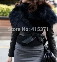 New Fashion Stylish Turn-Down Collar Sleeveless With Belt Women Waistcoat Short Style Faux Fur Coat In Winter Women Fur Outwear