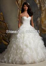 Vestido De Noiva New Custom Made Organza Ruffles Applique Romantic A Line Lace Wedding Dress Bridal