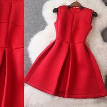 Spring red dress / ladies fashion magazine cover girl 2015 spring space cotton basic tutu dress girls(China (Mainland))