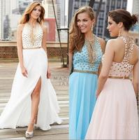 2014 Gorgous Halter Strap Chiffon Prom Dress Evening Women Dress with Crystals Sexy Key Hole Front vestidos