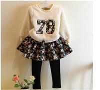 Kids Children girls winter woolen Clothing sets  thicker woolen hoodies +Floral pettiskirt Skirt Pants girls