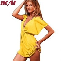 Women Beach Dress Casual Short Sleeve Dress Sexy V-Neck Solid Beach Dress Ice Silk Cotton Dress 10 Color QWC0004