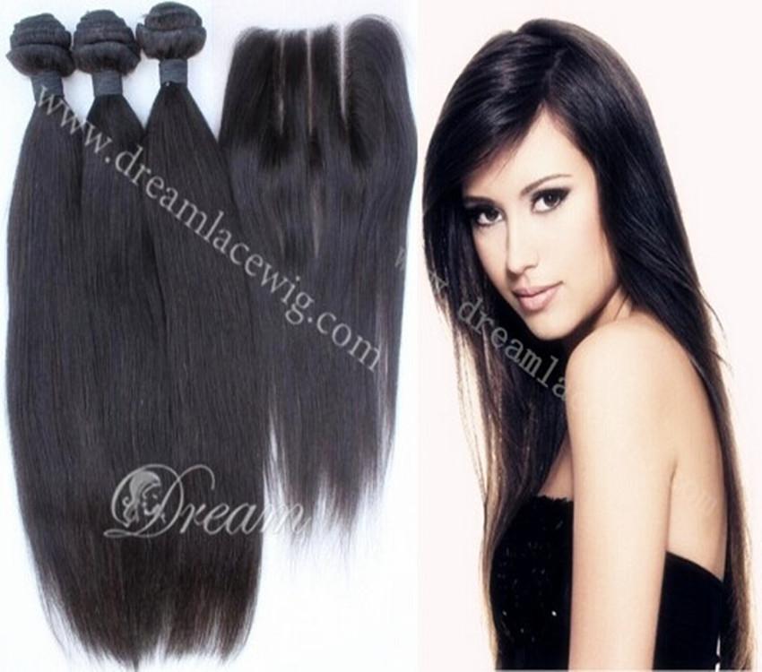 Free Shipping!Brazilian Virgin Hair Lace Closure With 3pcs Hair Bundles Unprocessed Human Virgin Hair Extension Straight Weaves(China (Mainland))