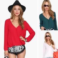 2014 New Blusas Femininas Chiffon Women Blouses Causal Ladies Tops V-neck Long Sleeve Plus Size S-XXL 4colors
