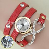 Free shipping 2015 fashion casual 2pcs creative bracelet watch diamond Wristwatches 5 colors--jnh