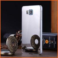 Luxury metal frame+ mirror acrylic back cover for samsung galaxy alpha G850 slim phone bag case for samsung galaxi alpha