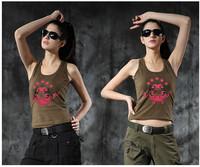 Women Print Fitness Stretch Workout Tank Top de renda 100% Cotton Quick Dry Gym Sport Tops  For Women Active Fitness Top