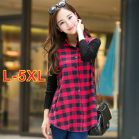 New fashion 2015 plus size Women blouse Casual Plaid shirt women blusas femininas