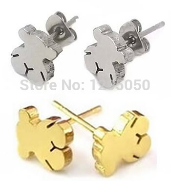 new 2015 fashion women earrings high quality little bear earring stainless steel earrings te1201(China (Mainland))