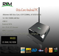 New Arrival!!!RKM Allwinner A80 Octa Core Android TV Box 2G/16G 802.11ac 2.4G/5GHz WiFi RJ45 AV SD USB 3.0 SATA Smart TV