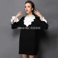 Fashion plus size plus size plus size beading ruffle o-neck slim 2014 autumn one-piece dress
