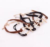 Wholesales fashion bracelets Velvet cord Sideways Cross Infinity Leather bracelets