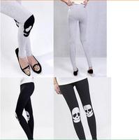 2014 new women's Skeleton head outer wear warm autumn paragraph feet thick velvet leggings free shipping dk004