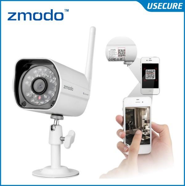 Zmodo 720P Wireless Wifi IP security outdoor Camera, onvif 3.6mm lens, 720p HD color sensor QR Code Smartphone Setup(China (Mainland))