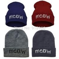 """fashion """"MEOW"""" cap winter womens hats and mens beanie hat ski hat,gorros e toucas feminina,sombreros mujer"""